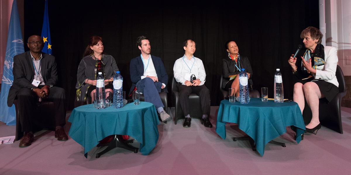 F. d'Almeida, A. Joffe, T. Fleming (membres de la Banque d'expertise), Bui Hoai Son (VICAS, Viet Nam), B. Rose (Seychelles), C. Merkel (membre de la Banque d'expertise et modératrice)