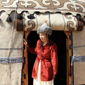 Woman in a yurt
