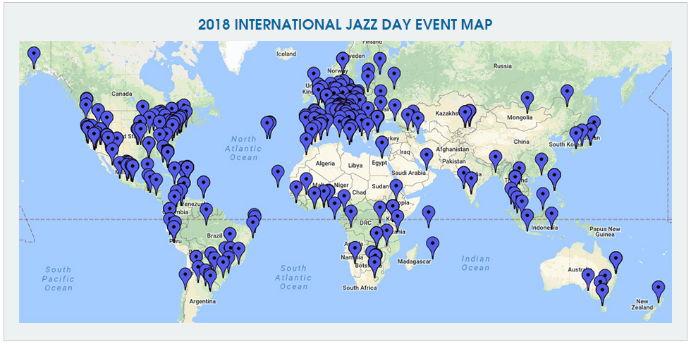 2018 International Jazz Day Event Map