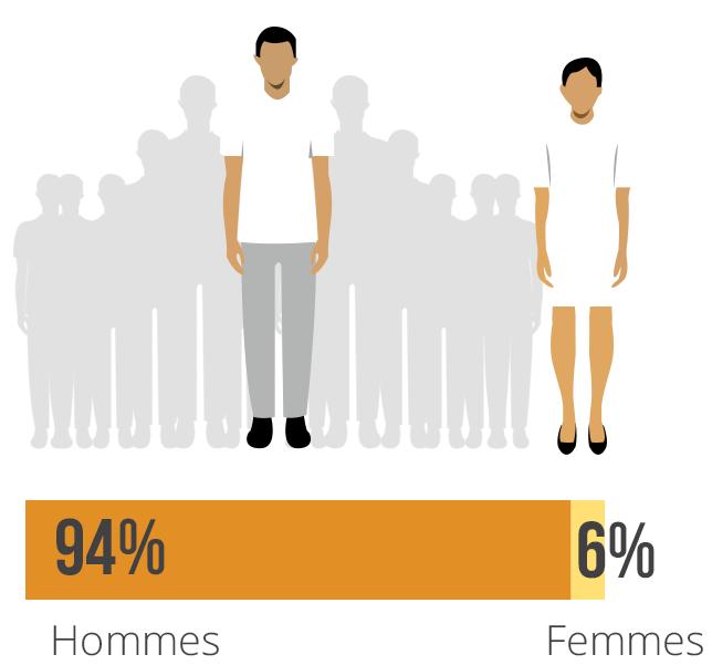 Pourcentage de journalistes tués par sexe 2006-2015