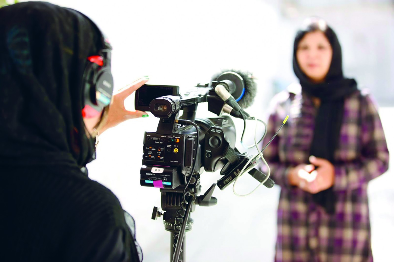 Women journalists being trained