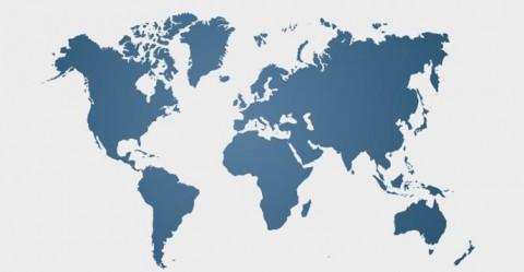 Blue similar world map blank. World clean flat map. Vector illustration. EPS 10.