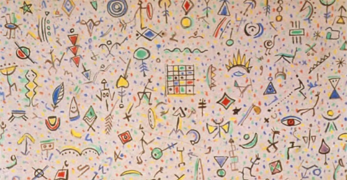 A medley of signs by the Tunisian painter Gouider Triki (gouache on paper). © ÏMA-Philippe Maillard, Paris