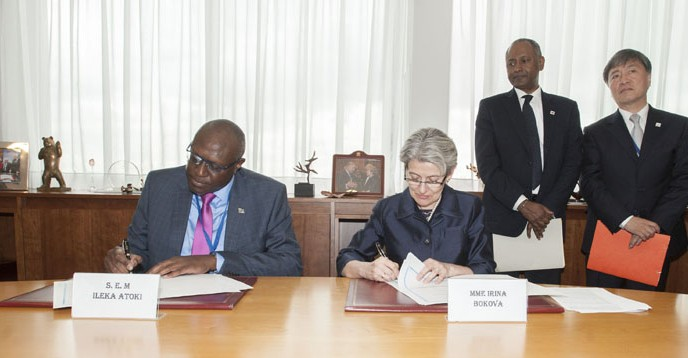 Signature ceremony of an agreement between UNESCO and the DRC regarding ERAIFT